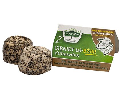 2 Gibniet tal-Bzar t'Ghawdex bil-Halib tan-Naghag (Sheep Peppered Cheeselets)